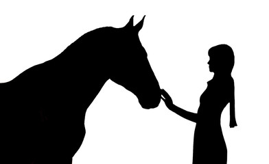 Silhouette of the girl and horse