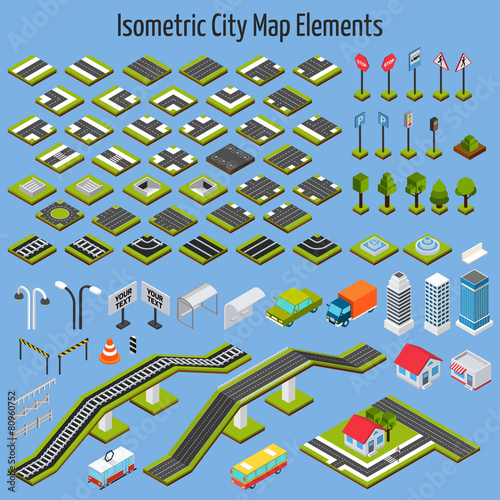 Isometric City Map Elements - 80960752