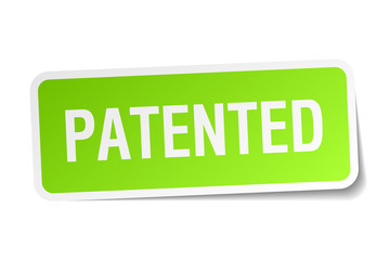 patented green square sticker on white background