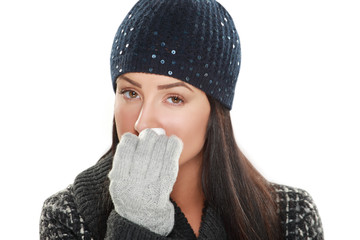 beautiful woman caught cold with tissue