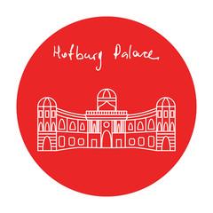 Austria Hofburg residence palace vector icon