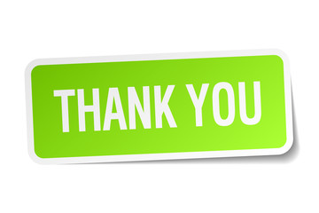 thank you green square sticker on white background