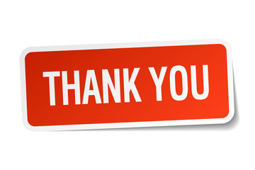 thank you red square sticker isolated on white