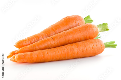 Foto op Canvas Vruchten Carrot. Heap of vegetable isolated on white