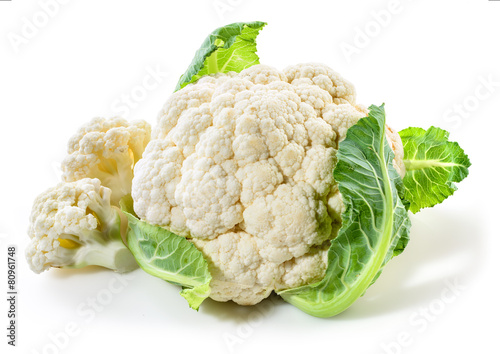 Poster Groenten Cauliflower isolated on white background