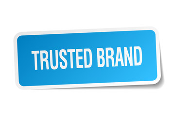 trusted brand blue square sticker isolated on white