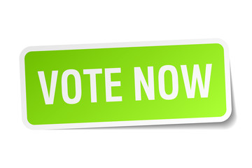 vote now green square sticker on white background