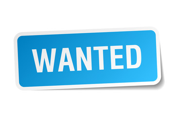 wanted blue square sticker isolated on white