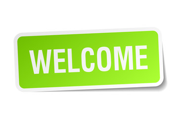 welcome green square sticker on white background