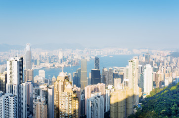 Beautiful view of business center of Hong Kong city from the Vic