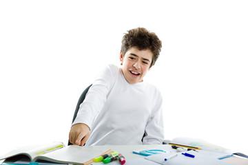 Panicky boy pointing to homework
