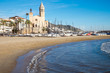 The church and the beach in Sitges, a small town near Barcelona - 80963707