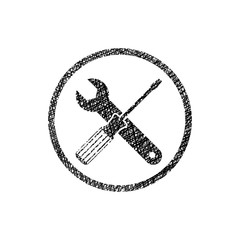 Repair icon with wrench and screwdriver, vector symbol with hand