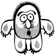 Funny cartoon monster with stubble, black and white lines vector
