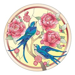 Vitrazh birds with flowers