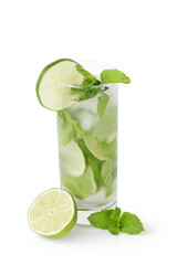 refreshing cocktail mojito with cane sugar, lime and mint