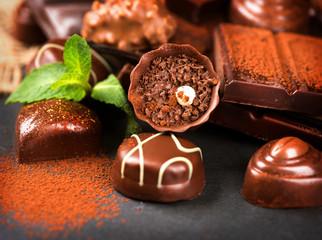 Chocolates assortment. Praline chocolate sweets