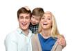 Cheerful family of three having fun
