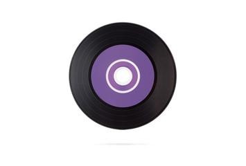Black vinyl disk. Isolated on white.