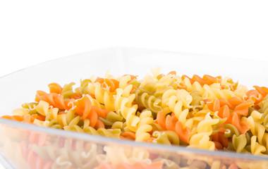 Raw fusilli pasta - three colors
