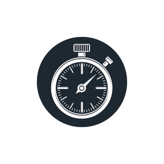 Old-fashioned pocket watch, graphic illustration. Simple timer,