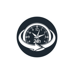 24 hours-a-day concept, clock face with a dial and an arrow arou