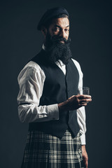 Bearded Scotsman with an evening glass of whiskey