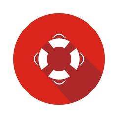 Icono salvavidas rojo botón sombra