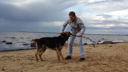 Man playing with dog on the beach