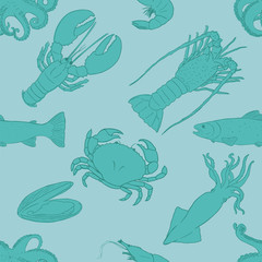 Vector Seamless Seafood Pattern Background