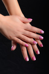 nail art pink and white