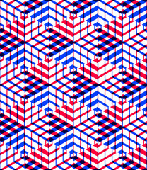 Bright symmetric seamless pattern with interweave figures. Conti