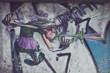 Leinwandbild Motiv Mur de graffiti personnage