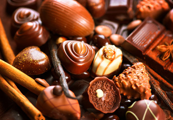 Chocolates assortment. Praline chocolate sweets