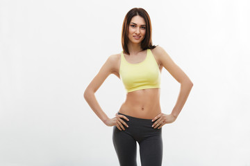 Fitness Woman against white background.