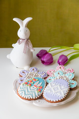 Home-baked and decorated Easter cookies.