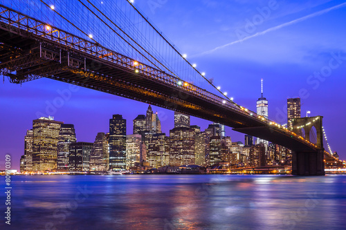 New York City Manhattan Brooklyn Bridge night skyline Poster