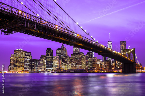 New York City Manhattan Brooklyn Bridge night skyline - 80970729