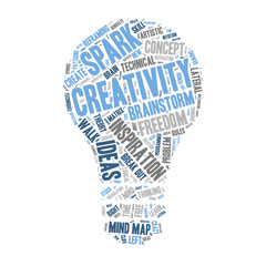 Word Cloud - Creativity and Inspiration - Light Bulb Shape