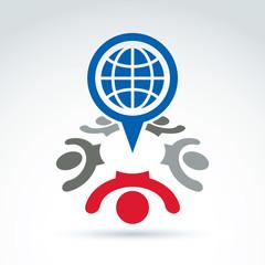 Vector illustration of an international meeting. Speech bubble w