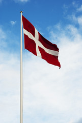 Danish flag waving in the wind