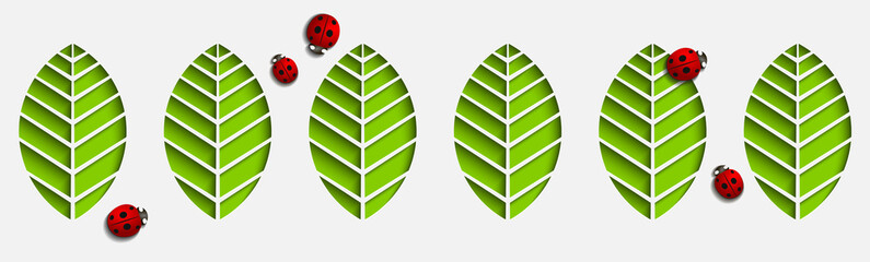 Paper leaves and ladybug.Abstract 3D with shadows.Origami