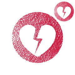 Broken heart vector simple single color icon isolated on white b