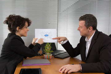 Business people analysing new strategy
