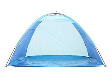 Frontal studio shot of a blue tent