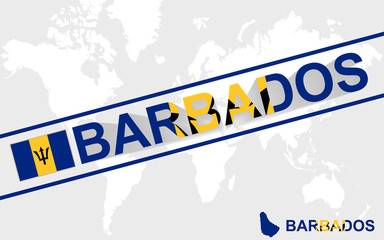 Barbados map flag and text illustration