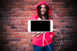 Woman showing blank smartphone screen