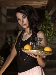 waitress with tequila