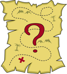 Simple old torn map with a question mark