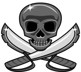 Shiny metal skull with crossed swords, pirate style